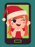 Menina bonito do Natal dentro de um telefone Ilustração do Vetor