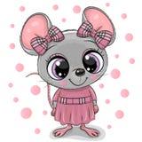 Menina bonito do rato dos desenhos animados em um vestido cor-de-rosa ilustração do vetor