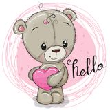 Menina bonito do urso de peluche com coração ilustração stock