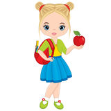 Menina bonito do vetor com saco e Apple de escola ilustração stock