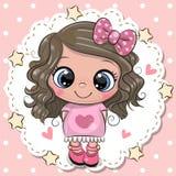 Menina bonito dos desenhos animados com curva cor-de-rosa ilustração do vetor