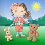 Menina bonito dos desenhos animados com o urso e o coelho de peluche dos brinquedos Fotografia de Stock Royalty Free