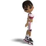 Menina bonito dos desenhos animados com patins inline. 3D ilustração royalty free