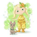 Menina bonito dos desenhos animados com seu animal de estimação Imagens de Stock Royalty Free