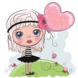 Menina bonito dos desenhos animados com um balão ilustração royalty free