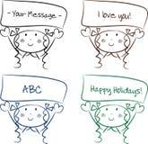 Menina bonito dos desenhos animados com uma mensagem Fotos de Stock