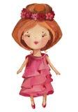 Menina bonito dos desenhos animados da aquarela Foto de Stock