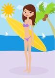 Menina bonito dos desenhos animados que constrói um sandcastle no bea Foto de Stock Royalty Free
