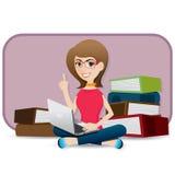 Menina bonito dos desenhos animados que usa o portátil Fotos de Stock Royalty Free