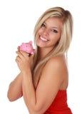 Menina bonito e banco piggy Fotos de Stock