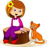 Menina bonito e gato ilustração stock