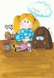A menina bonito e o cão que escutam o vintage transmitem por rádio Fotos de Stock Royalty Free