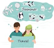 A menina bonito e o menino alegre vão em uma viagem com um mapa no plano ilustração stock