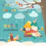 A menina bonito e o unicórnio que balançam no inverno estacionam Fotografia de Stock