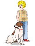 Menina bonito e seu cão Fotos de Stock Royalty Free