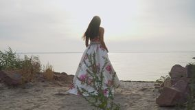 A menina bonito em um vestido bonito longo anda pelo rio video estoque