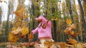 A menina bonito engraçada, alegre salta jogando acima outono amarelo um movimento lento caído das folhas vídeos de arquivo