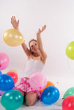 Menina bonito engraçada com baloons Foto de Stock Royalty Free