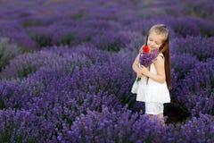 Menina bonito feliz no campo da alfazema que guarda o ramalhete de flores roxas fotos de stock royalty free