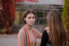 A menina bonito guarda sua mão em sua amiga foto de stock