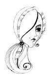 Menina bonito ilustrada Imagens de Stock Royalty Free
