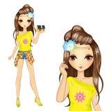 Menina bonito na blusa amarela Ilustração do Vetor