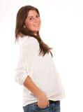Menina bonito na camisa e nas calças de brim Imagem de Stock
