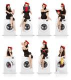 Menina bonito na colagem engraçada da máquina de lavar fotos de stock royalty free