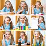 Menina bonito na mesa Fotos de Stock Royalty Free