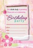 Menina bonito nenhum do convite do aniversário 1 Fotos de Stock Royalty Free