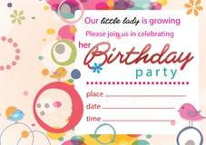 Menina bonito nenhuns do convite do aniversário 2 Imagens de Stock