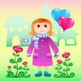 Menina bonito no amor com balões do coração Fotografia de Stock Royalty Free