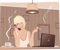 Menina bonito no café Imagem de Stock