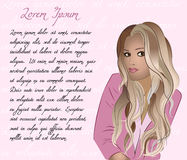 Menina bonito no fundo cor-de-rosa ilustração do vetor