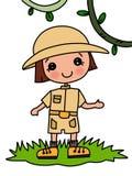 Menina bonito no fundo do branco da ilustração do safari ilustração do vetor