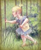 Menina bonito nova em um jardim Imagem de Stock