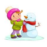 Menina bonito pequena com boneco de neve Foto de Stock