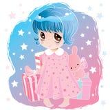 Menina bonito pequena com olhos grandes ilustração royalty free