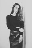 Menina bonito preto e branco Fotografia de Stock Royalty Free