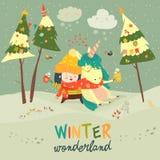 Menina bonito que abraça o unicórnio País das maravilhas do inverno Fotografia de Stock Royalty Free