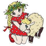 Menina bonito que abraça um cordeiro ilustração stock