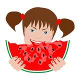 Menina bonito que come a melancia Fotos de Stock