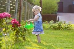 Menina bonito que dá flores do jardim da água imagem de stock