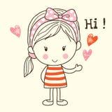Menina bonito que diz olá! Fotografia de Stock