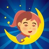 Menina bonito que dorme na lua Fotografia de Stock