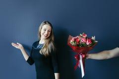 Menina bonito que obtém o ramalhete de tulipas vermelhas Noivo que dá tulipas Fotografia de Stock