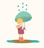 Menina bonito sob o guarda-chuva Ilustração do tempo do outono ilustração royalty free