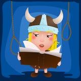 Menina bonito viquingue dos desenhos animados Guerreiro medieval com livro caráter ilustração royalty free