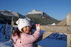 Menina branca bonita na natureza: País das maravilhas do inverno imagens de stock royalty free