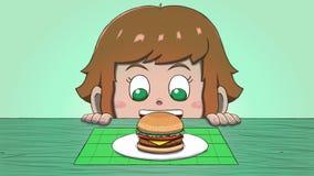 Menina branca que olha o Hamburger ilustração do vetor